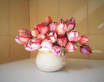 Handmade tulips interior decoration cold porcelain