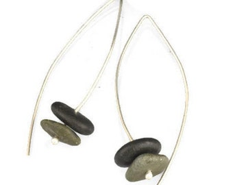 Sterling Silver Stacked Rock Beachcomber Dangle Earrings