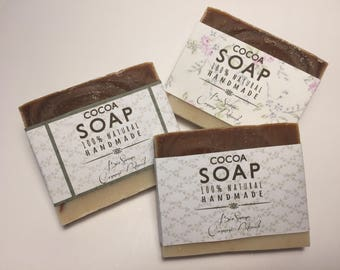 Set of 3 soaps with olive oil and cocoa and pink clay. Natural homemade