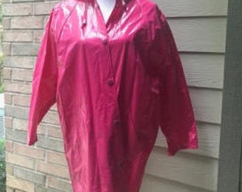 Vintage Slippery When Wet - Rain Jacket - Hot Pink - Size M