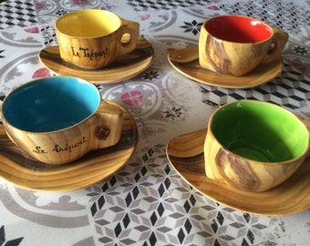 Coffee service of 4 cups and saucers vintage french ceramic