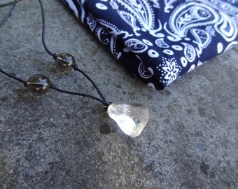 Clear Quartz and Smoky Quartz Crystal Necklace