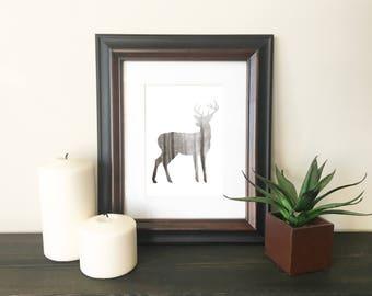Woodland Deer - Brown Silhouette Digital Print