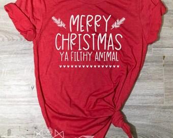 Christmas Shirt, Merry Christmas Shirt, Christmas Movie Shirt, Filthy Animal, Christmas List Tee, Christmas Shirt Women, Women's Christmas