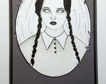 "Wednesday Addams ""Homicide"" Art Print, Addams Family, Goth"