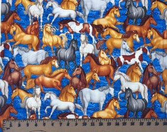 RJR Saddle Up Horses Blue 1082 Western Cotton Fabric By the Yard