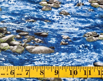 Timeless Treasures Nature Water River Rocks 4953 Cotton Fabric By the Yard