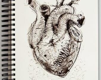Hearth-2018,21x29cm,Original Hand Drawing,Dip Pen,Gestual and Expressive,Texture Ink Sketch, Sketchbook,Decorative Art for Wall,Unique Art.