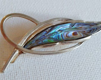 Sterling silver paua brooch, sterling silver abalone pin