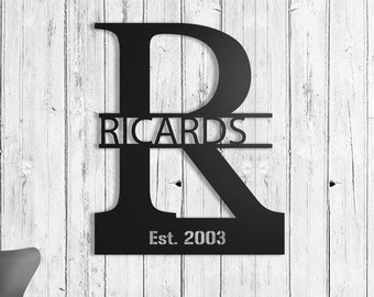 "Custom Personalized Name Metal Wall Sign Art, Home Decor Gift 19""x15.5"" Wood,vein,color options"