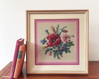 Vintage Framed Needlepoint Flowers - floral poppy daisy - Handmade embroidery - tapestry wood frame - nursery girls room baby decor #0632