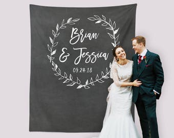 Chalkboard Wedding Photo Booth Backdrop Calligraphy Ceremony Reception Decorations Personalized