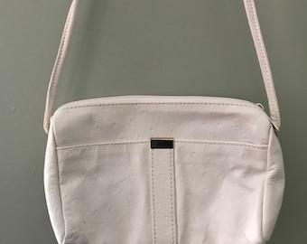 Vintage Faux Ostrich Leather White Purse Shoulder Bag