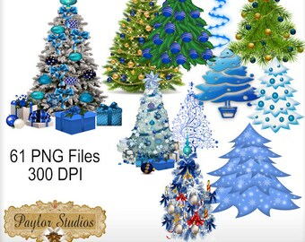 Blue Christmas Digital Clipart - PNG Files - 300 DPI - Printable crafts -  Card Making - Scrapbooking - Stationary - Invitations
