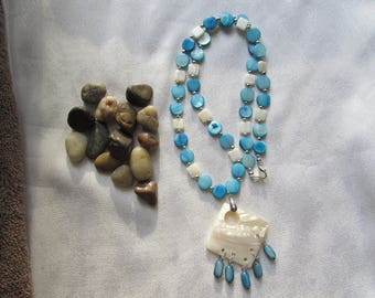 White and Blue Mother of Pearl Necklace