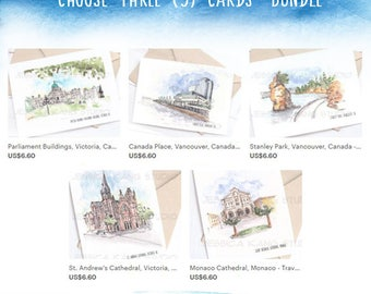 SAVE 25%: Choose ANY 3 Travel Sketch Cards