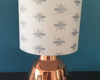 Silver Wasp Fabric Drum Lampshade