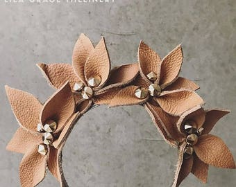 Tan Leather Fascinator