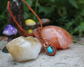 turquoise copper wire wrapped crystal healing necklace