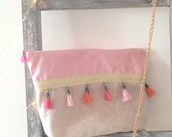 pouch / pink Bohemian clutch, linen and coral