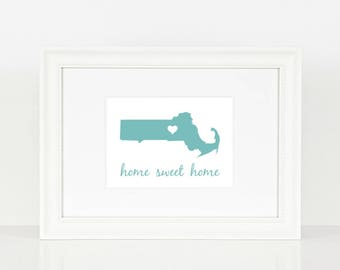 Massachusetts Home Sweet Home Print - Blue