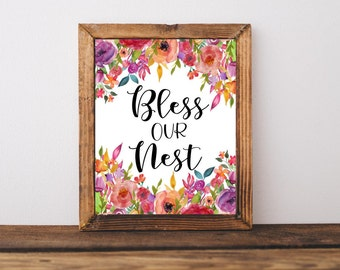 Bless Our Nest | Printable Quote, Downloadable Print, Home Decor, Wall Art, Printable Art, Printable Wall Art, Flower Art, Family Quote