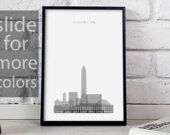 Washington art Washington print Washington decor Washington poster Washington Skyline poster Washington DC wall art Gift poster