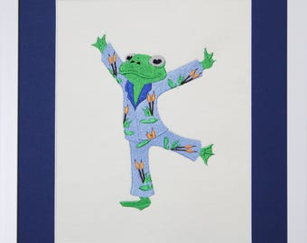 "Fanciful Embroidered ""Frog in PJ's"" Framed picture"