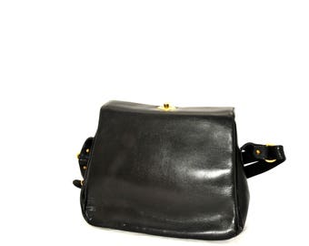 Vintage Black Leather Harrods Bag