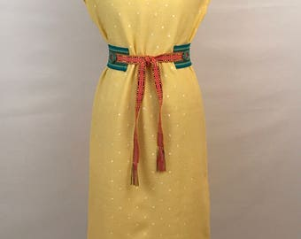 50s Yellow Sunshine Day Dress Vintage Marty Gutmacher House Dress