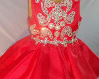 size 4T pageant dress-red pageant dress-rhinestone-rhinestone trim-rhinestone pageant dress