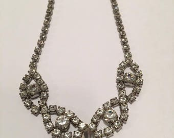 Vintage Costume Jewelry Choker Necklace Sparkly