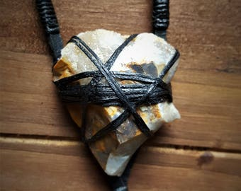 Leather and Crystal Pendant