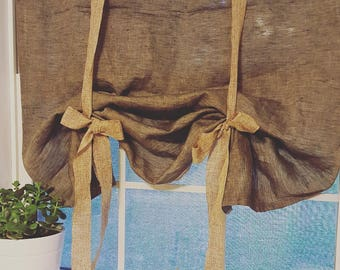 Rustic dark gray Linen Curtains. Farmhouse Kitchen Curtain. Window treatment. 100% Linen Cottage Curtains