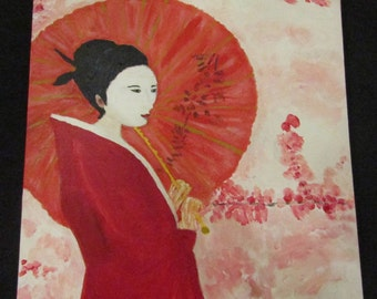 Portrait Japanese Influence Lady in Red Kimono