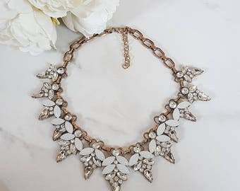 Gold Jewel Statement Bib Necklace
