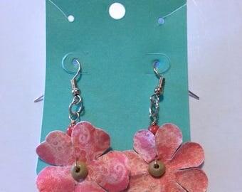Handmade Earrings - Pink Paper Flowers