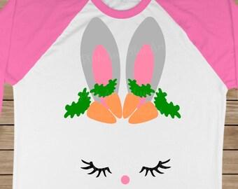 Easter svg - Bunny face svg - Bunny svg - Rabbit svg - Bunny shirt - Cut file - Iron on - Bunny ears - Eyelashes - SVG, dxf, png, pdf, eps