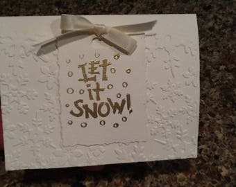 Let It Snow Elegant Handmade Embossed A2 Card with Gold Embossing 4.25 in X 5.50 in Blank Holiday Note Card with Envelope