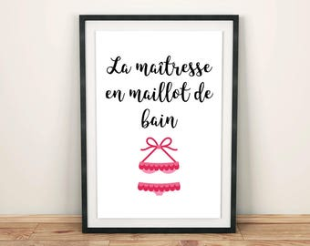 La maitresse en maillot de bain Printable wall art poster home decor, digital print fun french saying quote with swimsuit, instant download