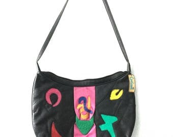 80s New Wave Matisse-inspired leather purse by Contessa