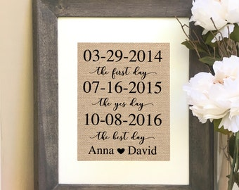 Wedding/ Anniversary  Gift for Him For Husband For Wife The First Day The Yes Day The Best Day  Personalized Important Dates Burlap Print