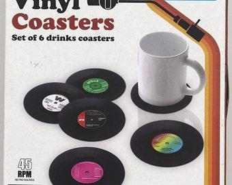 retro vinyl cup coasters vintage creative  6-pack