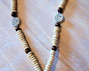 Necklace wood beads, tree of life, Celtic knot and shiva seed