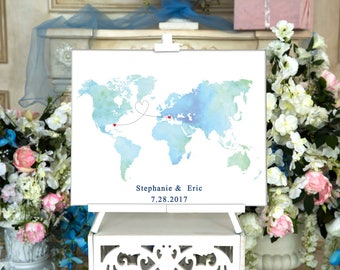 World map CANVAS Wedding Guest Book Canvas Guest book Alternative Wedding Guestbook Wedding Guest book Gift for couple Bridal shower gift