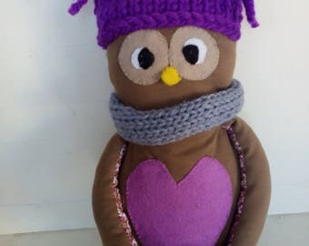 Handmade owl - clothdoll - ragdoll - heirloom doll - plush animal - kids gift - kids - knitting - infinity scarf - wool bonnet - purple