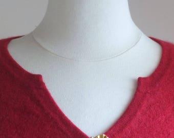Athentique brooch HANAE MORI haute couture gold tone metal