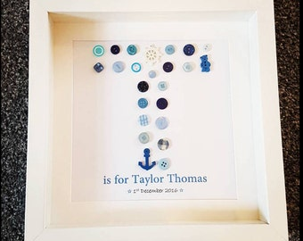 Personalised baby boy initial button frame