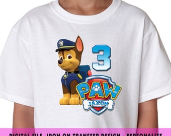 Paw Patrol Iron On Transfer , Chase Iron On Transfer Design For Birthday Shirt , Digital File ,Personalize Name and Age , Iron On Transfer