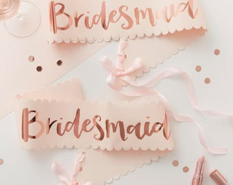 2 Pink and Rose Gold Bridesmaid Sashes, Team Bride, Bachelorette Sash, Hen Party Sash, Rose Gold Sash, Hen Party, Bachelorette Sash